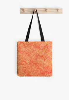 """Orange and red zentangles"" Tote Bag by Savousepate on Redbubble #totebag #bag #pattern #zentangles #scrolls #doodles #red #orange"