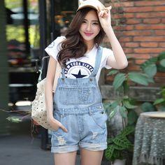2015 Korean New Womens Jumpsuit Denim Overalls Casual Skinny Girls Pants Jeans Short Trousers Ladies Denim Jeans Shorts Feminino