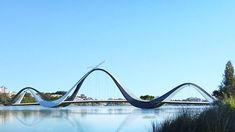 A Striking Footbridge Will Be Built in East Perth, Australia. The bridge will connect the 60,000-seat sports stadium to parking and public transportation, located across the river, and divert foot traffic away from nearby residential areas. | Architectural Digest
