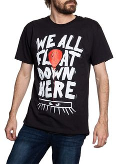 "Novelty Halloween Themed T-Shirt- ""We All Float Down Here"" Halloween Themes, Halloween Party, T Shirt Printer, Red Balloon, Novelty Print, Cool T Shirts, Screen Printing, Unisex, Printers"