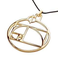 Phi Pendant Gold - A Powerful Tool for Finding Harmony and Beauty.  The Phi pendant was designed by Joe Zastrow who won David's jewelry model designing contest for February-March 2007.    Phi pendant contains one of the methods to sketch the Golden Mean of Phi (1. 618…. ).  It also contains (on top) the Greek letter Phi, representing the divine proportion.   Phi is a constant value which is even more mysterious and profound in its implications than Pi (3.