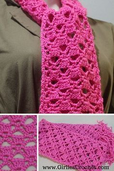 Free Crochet Pattern: Lacy Scarf, with photo tutorial in each step to guide you in your crochet journey.