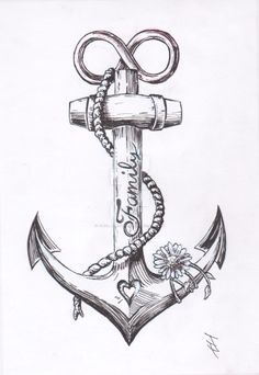 If you are looking for a tattoo to show your passion for the sea, then look into the anchor tattoos. Anchor tattoo designs have been around for hundreds of years; many people have been getting them for years Couple Tattoos, New Tattoos, Body Art Tattoos, Girl Tattoos, Small Tattoos, Sleeve Tattoos, Tattoos For Guys, Small Anchor Tattoos, Family Anchor Tattoos