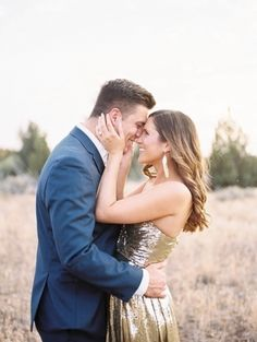 Gold shimmer dress perfect for an #engagement photoshoot! (Photo by Amanda K Photography) via Wedding Sparrow