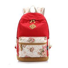 Fashion Backpack Women Canvas Rucksack School Bags for Teenagers Girls School Backpack Mochila Floral Printing Women Backpack
