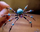 Christmas  Spider  Beaded Sun Catcher Ornament Turquoise and Amethyst  Bill  & Barbara Walsh