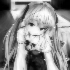 Cute Anime Profile Pictures, Cute Anime Pics, Anime Monochrome, Kasugano, Emo Princess, Dark Anime Girl, Picture Icon, Gothic Anime, Anime Best Friends