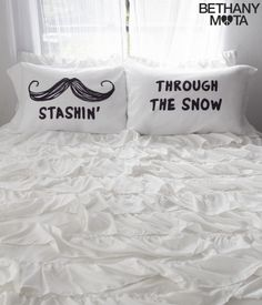 "I smile every time I wake up to my Stashin' Pillow Case Set! It puts a cute, clever twist on one of my all-time fave Christmas lyrics with ""Stashin' through the snow"" text and a big ol' mustache graphic.  Sweet dreams y'all, xoxo Beth<br><br>Includes two pillow cases.<br>H 19.5"" x W 30""<br>Style: 1098. Imported.<br><br>100% polyester.<br>Machine wash/dry."