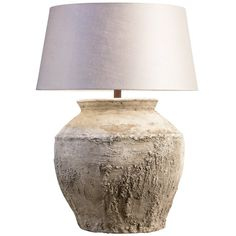 Monumental, Rustic Cambodian Water Jar as Lamp with Belgian Linen Shade | From a unique collection of antique and modern table lamps at https://www.1stdibs.com/furniture/lighting/table-lamps/