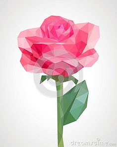 Low poly polygon rose pink flower isolated on a green stem roman