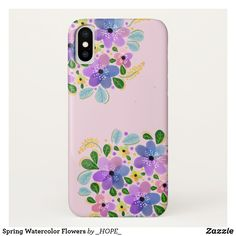 Shop Spring Watercolor Flowers Case-Mate iPhone Case created by _HOPE_. Pretty Iphone Cases, Plastic Case, Watercolor Flowers, Apple Iphone, Create Your Own, Spring, Flower Watercolor, Floral Watercolor