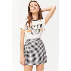 Forever 21 Gingham Print Mini Skirt  Cream/black (€12) ❤ liked on Polyvore featuring skirts, mini skirts, short mini skirts, cream mini skirt, gingham mini skirt, forever 21 skirts and cream skirt