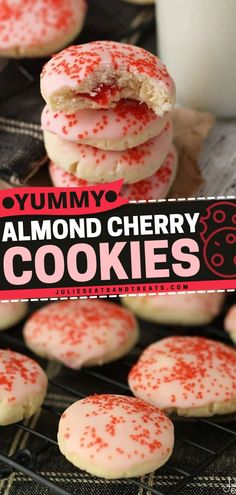 You're in for some yummy summer desserts with these Almond Cherry Cookies. Soft, Delicious Almond Cookies Glazed in maraschino cherry Frosting with a Surprise Cherry in the Middle! Bake a batch of… Cookie Glaze, Soft Cookie Recipe, Delicious Cookie Recipes, Cake Recipes, Cherry Cookies, Cookies Soft, Almond Cookies, Yummy Cookies, Easy Summer Desserts