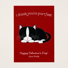 Cute Tuxedo Cat Classroom Valentines Business Card - Saint Valentine's Day gift idea couple love girlfriend boyfriend design