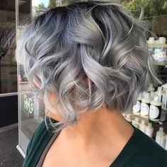 Curly+Gray+Bob+With+Black+Roots