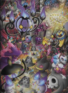 PikaWeen. Golbat, Pikachu, Cubone, Haunter, Ghastly, Duskull, Drifloon, ... (Pokémon Center clearfile, Halloween)