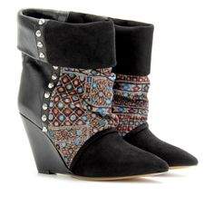 KATE SUEDE PRINT CORDUROY AND LEATHER WEDGE ANKLE BOOTS seen @ www.mytheresa.com