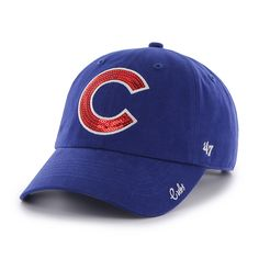 d44c22dea2b27 Chicago Cubs 47 Brand Womens Sparkle Blue Clean Up Adjustable Hat Chicago  Cubs Gifts