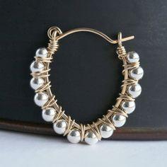 Handmade beaded hoop earrings sterling by MimiMicheleJewelry, $39.50