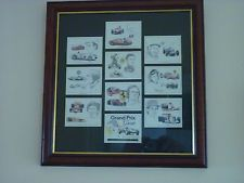 Full Set of 9 Grand Prix Greats Golden Era Cards Mounted and Framed