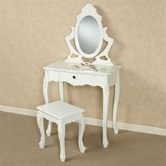 Jeannette Vanity Table and Stool White Set of Two