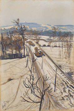 Stanisław Wyspiański, Pejzaż z kopcem Kościuszki - zimowy, 1905 r.