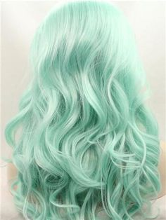 Wig Type: Synthetic Lace Front Wig Materials: Heat Resistance Silk Hair - Hair World Pastel Green Hair, Blue Green Hair, Green Hair Colors, Hair Dye Colors, Bright Hair, Cool Hair Color, Mint Hair Color, Turquoise Hair Color, Pastel Mint