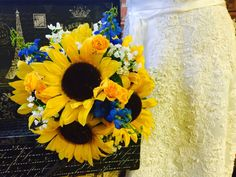 Sunflower Bouquet, Sunflower Babies Breath Blue Silk Flowers Bridal Bouquet, Sunflower Wedding Bouquet Yellow white Bouquet, Rustic Bouquet