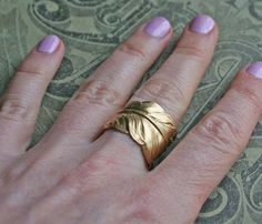 Adjustable Brass Feather Ring - Uncovet.com