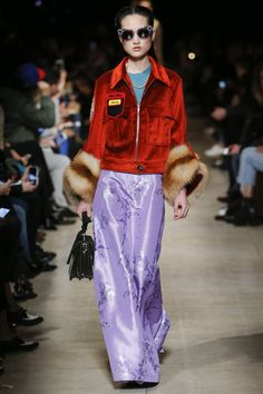 Miu Miu Fall 2016 Ready-to-Wear Fashion Show - Jing Wen. I don't love everything about this but I love the colors, the textures, the big fur cuffs and a casual jacket and fantastic skirt.