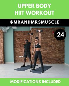 Upper Body HIIT Workout with modifications – Fitness Upper Body Hiit Workouts, Fitness Workouts, Full Body Hiit Workout, Gym Workout Videos, Hitt Workout, Fitness Workout For Women, Muscle Workouts, Body Women, Yoga Video