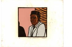 """Mr Dube, Traditional Healer, Johannesburg, 1975"" - linocut by Norman Kaplan. http://normankaplan.co.za/ Tags: Linocut, Cut, Print, Linoleum, Lino, Carving, Block, Woodcut, Helen Elstone, Anti-apartheid, Exile, South Africa, Dignity, Political."