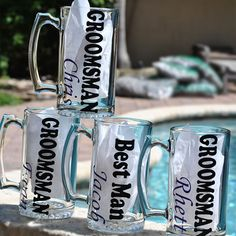 Our Groomsman beer mugs are loved by the the bridal party! They are heavy 25oz. mugs. We can do the vinyl in any color and change the personalization in any way.