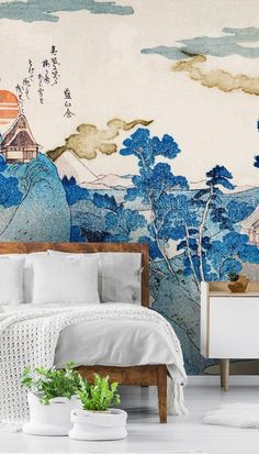 Install our fuji no yukei wallpaper mural to achieve a totally zen feel in your home. Custom-made for your wall! Although very blue, you won't be feeling blue with our fuji no yukei wallpaper mural. Admire the rolling hills and stretching trees caressed in beautiful shades of cobalt as they sit under the eyes of the burnt-orange moon. Creating a sense of restfulness, you'll definitely achieve a meditative space in any room with this oriental mural. #oriental #wallpaper #wallmural #homedecor