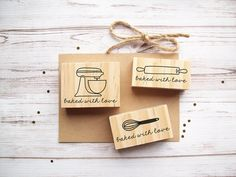 Baked With Love Rubber Stamp This listing is for 1 stamp with the graphic of your choosing! Choose from a stand-up mixer, whisk, or rolling pin as your graphic. Each stamp says baked with love in cursive handwriting underneath. If you would like to order all three, please select a