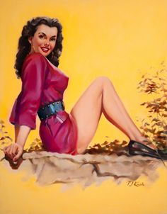 (TED) KUCK (American, d. Brunette Pin-Up in Red, Brown & Bigelow calendar illustration Oil on - Available at 2014 May 7 Illustration Art. Some Girls, Pin Up Girls, Earl Moran, Lucky Ladies, Calendar Girls, Photo Pin, Pin Up Art, Pin Up Style, Girl Cartoon