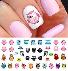 Owl Assortment Nail Art Waterslide Decals Set 1 Salon Quality >>> Continue to the product at the image link. Owl Nail Art, Owl Nails, Nail Art Diy, Easy Nail Art, Minion Nails, Simple Nail Art Designs, Toe Nail Designs, Nail Designs Spring, Beautiful Nail Designs