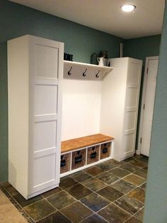 Most current Absolutely Free Ikea mudroom hack: Pax closets, ekby shelf and corbels, gerton desk top, kallax . Suggestions The IKEA Kallax series Storage furniture is a vital section of any home. They give buy and help yo Ikea Pax, Ikea, Mudroom Entryway, Hallway Storage, Bench With Storage, Home, Hall Decor, Pax Closet, Ikea Closet