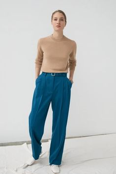 Innes Classic Cashmere Crewneck in Camel Grey Yellow, Get Dressed, Cable Knit, Parachute Pants, Camel, Knitwear, Harem Pants, Cashmere, Crew Neck