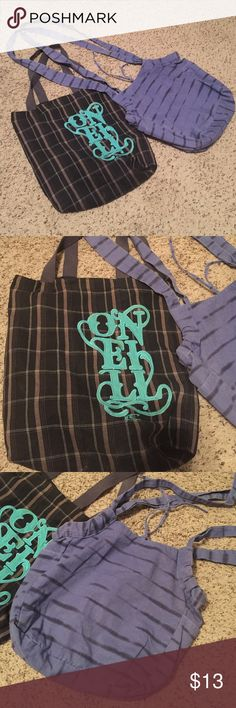 Bundle of canvas bags The plaid is Oneill- no inside pockets shoulder bag. The blue is a crossover with side pockets & 2 small inside side pockets. Bags Totes