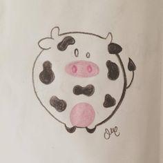 """Vaquita"" Chubby animals.  Cute pencil sketch"