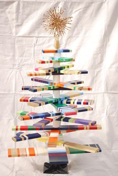 striped christmas tree. each kid decorate a branch.