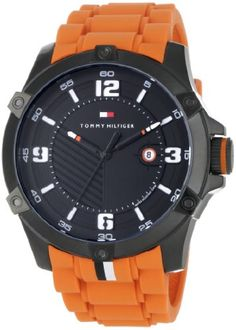88a256c5db6e Tommy Hilfiger Men s 1790793 Sport Black Ion-Plating and Orange Watch  Brand  Tommy Hilfiger