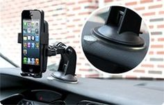 iOttie HLCRIO102 One Touch Windshield Dashboard Universal Car Mount Holder for iPhone 4S/5/5S/5C, Galaxy S4/S3/S2, HTC One - Retail Packaging - Black  by iOttie