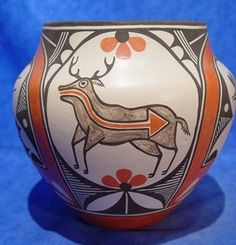 Medina Polychrome Olla by Sofia and Lois Medina of Zia Pueblo  Hand coiled clay pottery 8 1/4 x 8 1/2 inches   AAIA, Inc. deals in antique & contemporary Native American Indian art and artifacts. We Buy, Sell, Consign, Appraise, Restore & Research.#Antique #American #Indian #Art (949) 813-7202 mwindianart@gmail.com