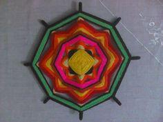 mandala tejido con lana