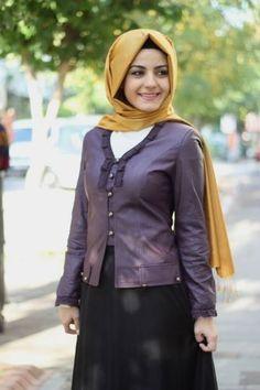 1201-4002-24 Deri Ceket - Mor, Tesettür giyimin en yeni modelleri uygun fiyat ve ücretsiz iade garantisi ile Alâtesettür.com da!