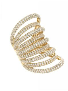 Jennifer Miller Jewelry 18K Yellow Gold Pave Diamond Multi Band Ring #Beautiful #Fashion #Style #Glam #Trends #Diamonds