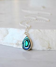 Abalone Necklace on Dainty Sterling Silver Chain #abalone #necklace #jewelrymaking #shellnecklace #dropnecklace #etsy #minimalistjewelry #womensfashion #gift #colorful