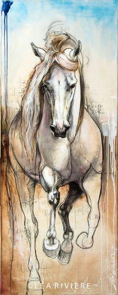 Nouvelle toile de Léa Rivière  - new Léa Rivière's painting 60x24 p. / 152x61 cm..©Léa Rivière toute reproduction en partie ou en totalité interdite/  art/ horse/ chevaux/ painting/